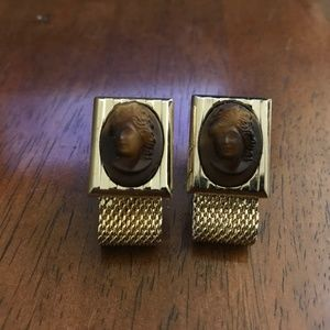 Vintage carve stone cameo style cufflinks gold ton